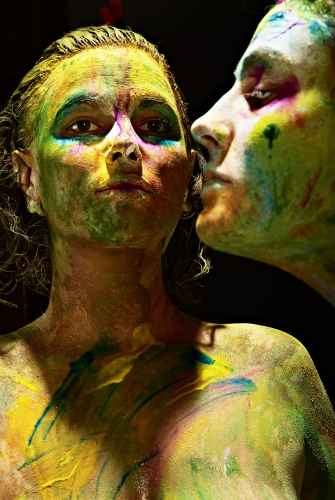 two women with painted faces
