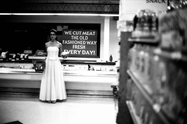 princess in a grocery store, B&W photo