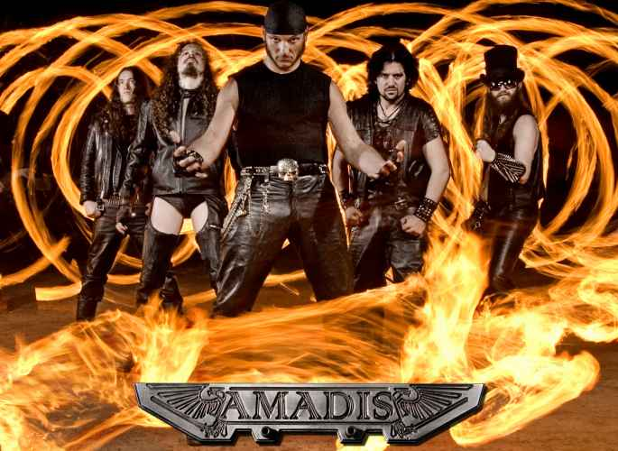 rock band Amadis surrounded by fire